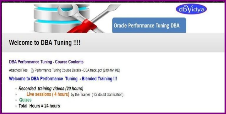 Oracle DBA Performance Tuning Training (Live Sessions /Training Videos)
