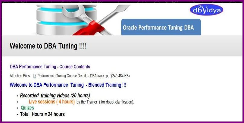 oracle Performance Tuning training videos DBA