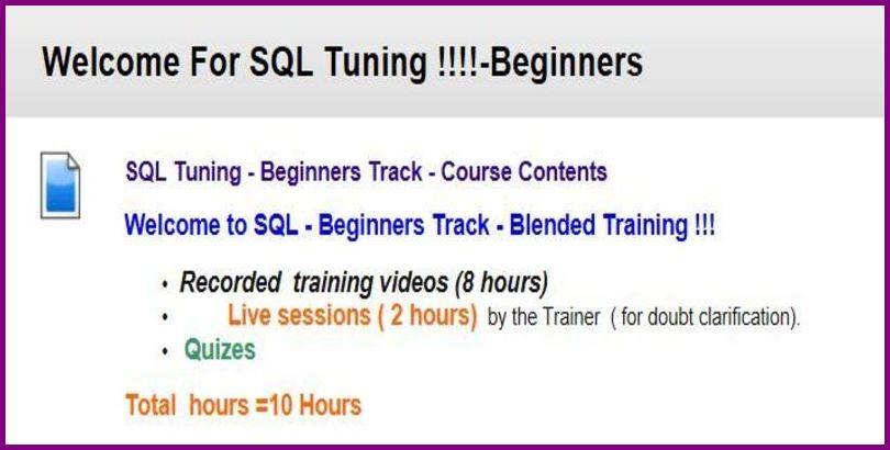 Oracle sql performance tuning for beginners