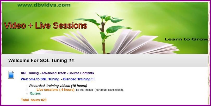 Oracle sql tuning Training